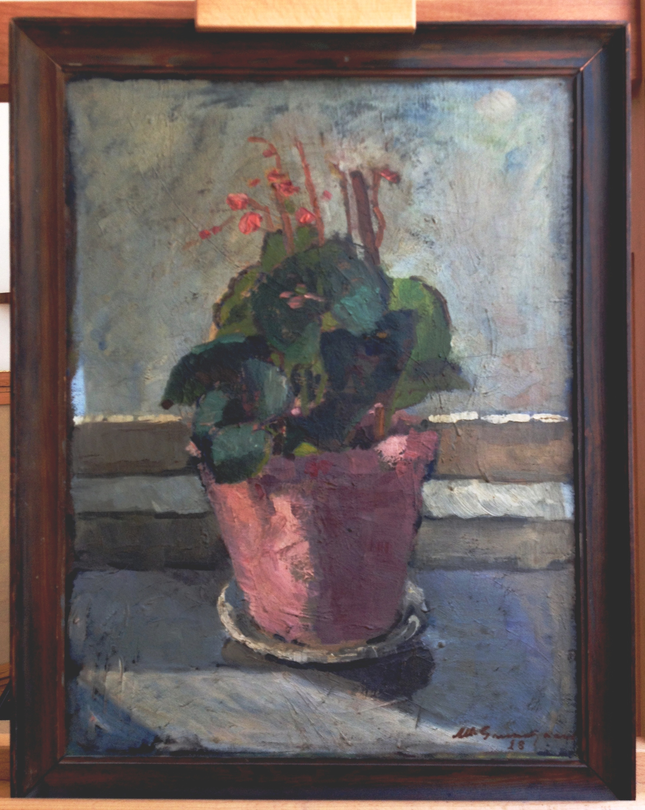 Før restaurering af lille blomstermaleri ca. 1930