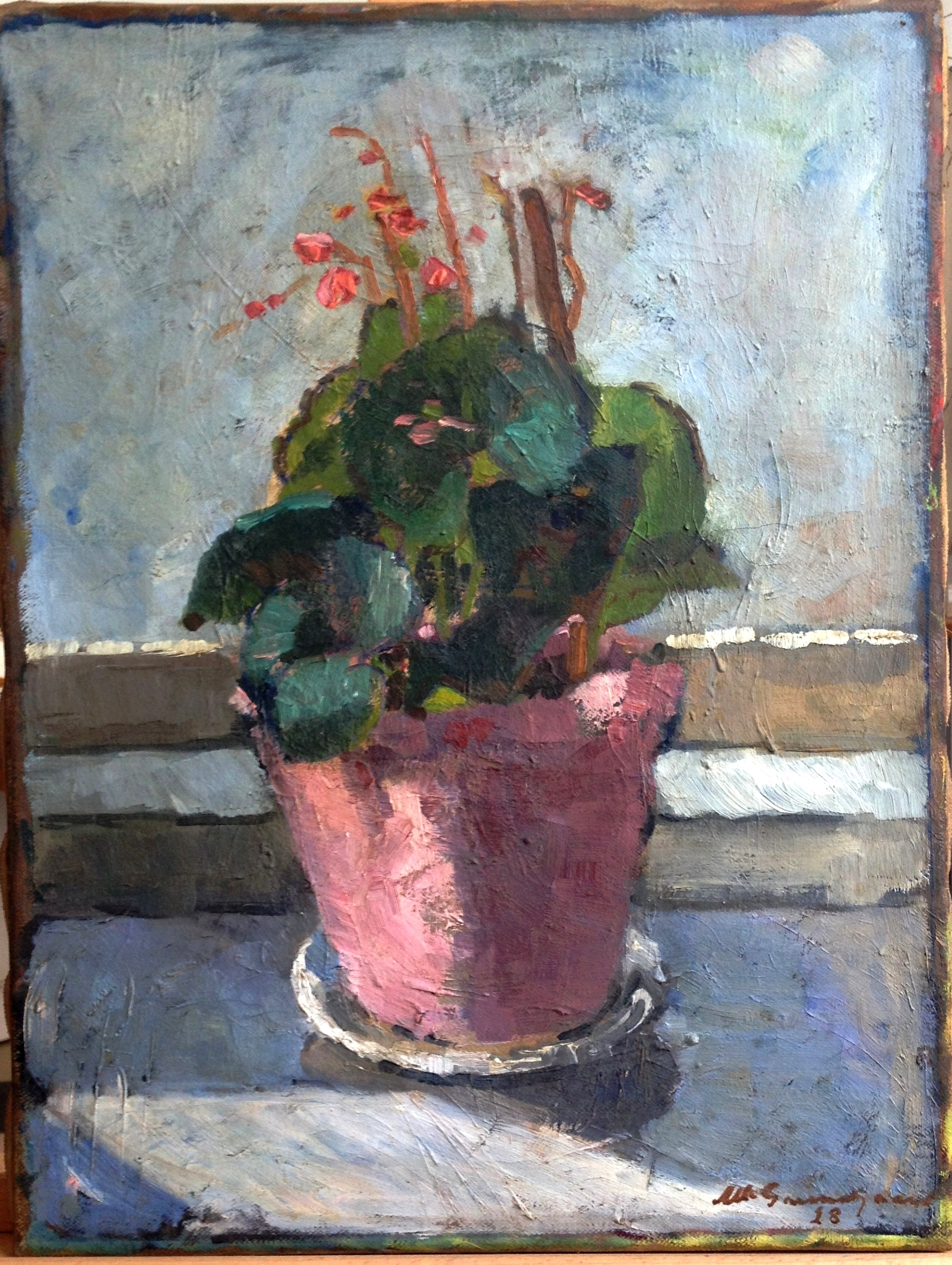 Efter restaurering af lille blomstermaleri