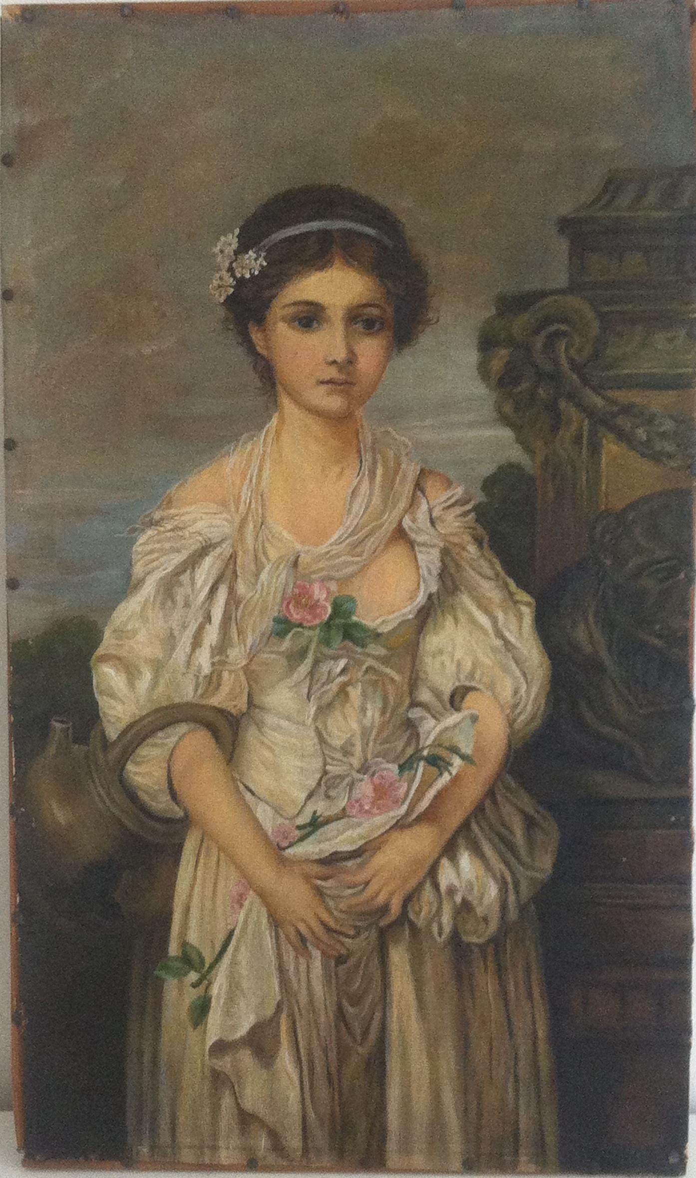 før restaurering af lille kvindeportræt ca. 1900