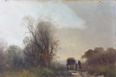under rensning af lille landskabsmaleri ca 1870
