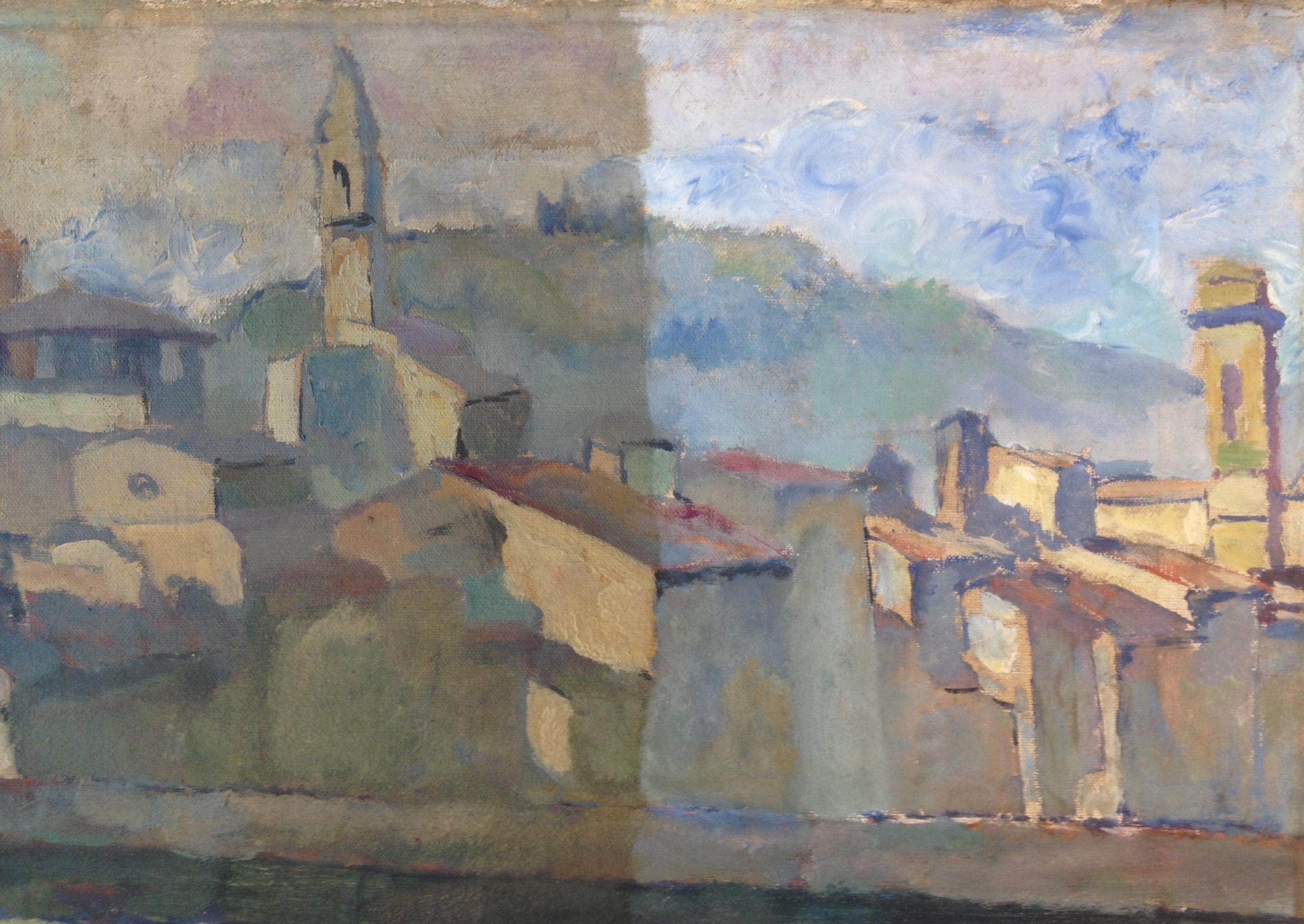 under rensning af Firenzemaleri ca. 1880
